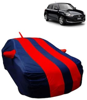 Fabtec Car Body Cover For Maruti Swift 2018 Boy Cover With Mirror Antenna Pocket Storage Bag ( Red & Blue)