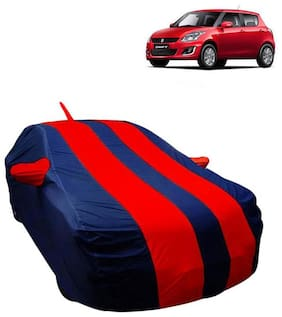 Fabtec Car Body Cover For Maruti Swift 2012 Car cover with Mirror Antenna Pocket, Storage Bag (Red & Blue)