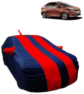 Fabtec Car Body Cover For Tata Tigor Car cover with Mirror Antenna Pocket, Storage Bag (Red & Blue)