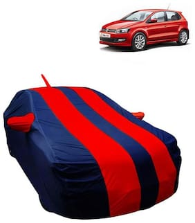 Fabtec Car Body Cover For Volkswagen Polo Car cover with Mirror Antenna Pocket, Storage Bag (Red & Blue)
