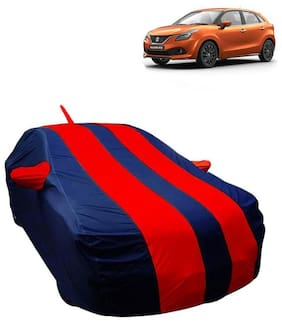 Fabtec Car Body Cover For Maruti Baleno 2018 Car cover with Mirror Antenna Pocket, Storage Bag (Red & Blue)
