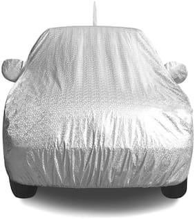 Fabtec Waterproof and Heat Resistant Metallic Silver Mirror and Antenna Car Body Cover for Maruti Swift 2018 with Soft Cotton Lining (Full Bottom Elastic;Full Sized;Triple Stitched)