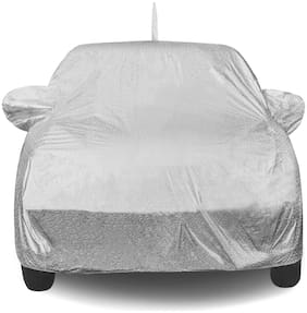 Fabtec Waterproof And Heat Resistant Metallic Silver Mirror And Antenna Car Body Cover For Maruti Suzuki Baleno With Soft Cotton Lining (Full Bottom Elastic;Full Sized;Triple Stitched)
