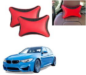 Famista 2pcs Leather Car Seat Neck Rest Pillow Cushion for 325i (Black Red Dot)