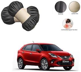 Famista 2pcs Car Seat Pillow Damaroo Neck & Head Rest Cushion (Black Beige) for Glanza