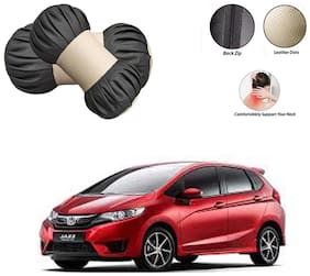 Famista 2pcs Car Seat Pillow Damaroo Neck & Head Rest Cushion (Black Beige) for Jazz New