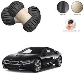 Famista 2pcs Car Seat Pillow Damaroo Neck & Head Rest Cushion (Black Beige) for i8