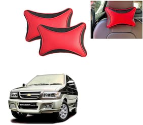 Famista 2pcs Leather Car Seat Neck Rest Pillow Cushion for Tavera_T-1 (Black Red Dot)