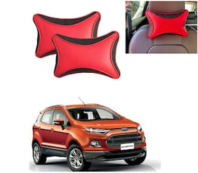Famista 2pcs Leather Car Seat Neck Rest Pillow Cushion for Ecosport_Old (Black Red Dot)