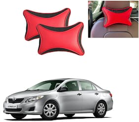 Famista 2pcs Leather Car Seat Neck Rest Pillow Cushion for Corolla (Black Red Dot)