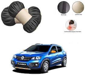 Famista 2pcs Car Seat Pillow Damaroo Neck & Head Rest Cushion (Black Beige) for Kwid Climber