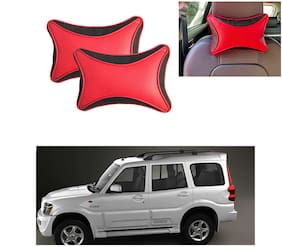 Famista 2pcs Leather Car Seat Neck Rest Pillow Cushion for Scorpio_T-2 (Black Red Dot)