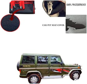 Famista Car Waterproof Pet/Dog Carriers Seat Cover Black Red for Mahindra Bolero Old