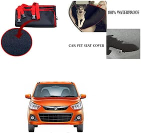 Famista Car Waterproof Pet/Dog Carriers Seat Cover Black Red for Maruti Suzuki Alto K10 Old