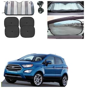 Famista Car 1pc Front/Rear Foldable Silver Foil & 4pcs Window Sunshade UV Protection Curtain Film Windshield (Set of 5) For Ecosport New