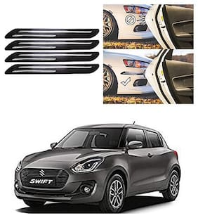 FamistaTM Car Bumper Protector Safety Guard Double Chrome Silver Strip (Set of 4) Black Silver for Swift 2018