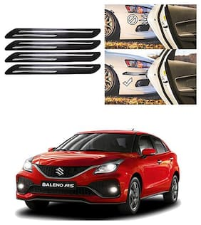 FamistaTM Car Bumper Protector Safety Guard Double Chrome Silver Strip (Set of 4) Black Silver for Baleno