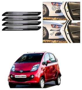 FamistaTM Car Bumper Protector Safety Guard Double Chrome Silver Strip (Set of 4) Black Silver for Nano New