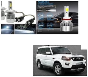 FamistaTM Car C6 H4 Compact Design 36W/3800LM LED Headlight Conversion Kit High/Low Beam Bulb Driving Lamp 6500K (Pack of 2) White for Mahindra Scorpio Type-3