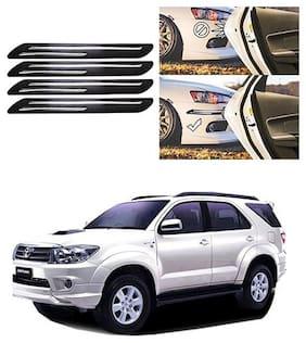 FamistaTM Car Bumper Protector Safety Guard Double Chrome Silver Strip (Set of 4) Black Silver for Fortuner Old