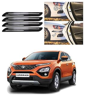 FamistaTM Car Bumper Protector Safety Guard Double Chrome Silver Strip (Set of 4) Black Silver for Harrier 2019
