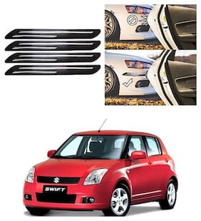 FamistaTM Car Bumper Protector Safety Guard Double Chrome Silver Strip (Set of 4) Black Silver for Swift