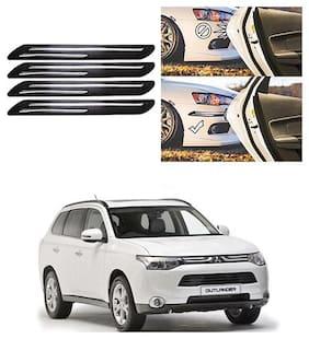 FamistaTM Car Bumper Protector Safety Guard Double Chrome Silver Strip (Set of 4) Black Silver for Outlander