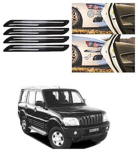 FamistaTM Car Bumper Protector Safety Guard Double Chrome Silver Strip (Set of 4) Black Silver for Scorpio Type-1