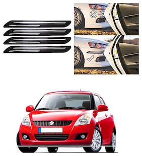 FamistaTM Car Bumper Protector Safety Guard Double Chrome Silver Strip (Set of 4) Black Silver for Swift Type-2