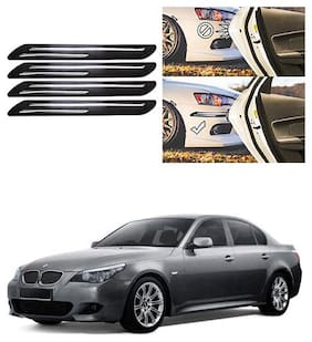 FamistaTM Car Bumper Protector Safety Guard Double Chrome Silver Strip (Set of 4) Black Silver for 525i