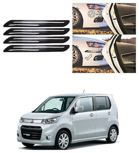 FamistaTM Car Bumper Protector Safety Guard Double Chrome Silver Strip (Set of 4) Black Silver for WagonR Stingray