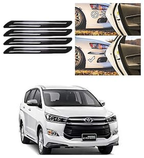 FamistaTM Car Bumper Protector Safety Guard Double Chrome Silver Strip (Set of 4) Black Silver for Innova Crysta 2019