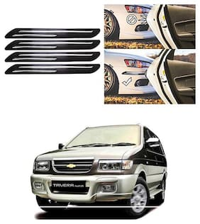 FamistaTM Car Bumper Protector Safety Guard Double Chrome Silver Strip (Set of 4) Black Silver for Tavera Type-1