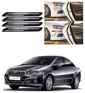 FamistaTM Car Bumper Protector Safety Guard Double Chrome Silver Strip (Set of 4) Black Silver for Linea