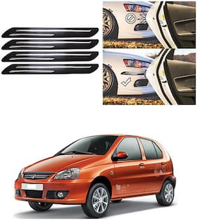 FamistaTM Car Bumper Protector Safety Guard Double Chrome Silver Strip (Set of 4) Black Silver for Indica Type-1