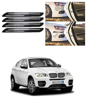 FamistaTM Car Bumper Protector Safety Guard Double Chrome Silver Strip (Set of 4) Black Silver for X5