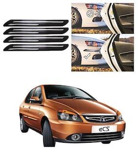 FamistaTM Car Bumper Protector Safety Guard Double Chrome Silver Strip (Set of 4) Black Silver for Indigo CS