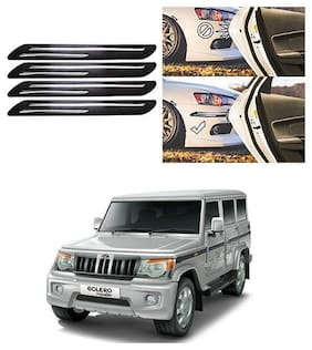 FamistaTM Car Bumper Protector Safety Guard Double Chrome Silver Strip (Set of 4) Black Silver for Bolero Type-4