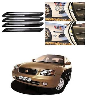 FamistaTM Car Bumper Protector Safety Guard Double Chrome Silver Strip (Set of 4) Black Silver for Baleno Old