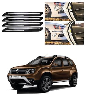FamistaTM Car Bumper Protector Safety Guard Double Chrome Silver Strip (Set of 4) Black Silver for Duster 2016