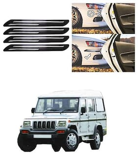 FamistaTM Car Bumper Protector Safety Guard Double Chrome Silver Strip (Set of 4) Black Silver for Bolero Type-2