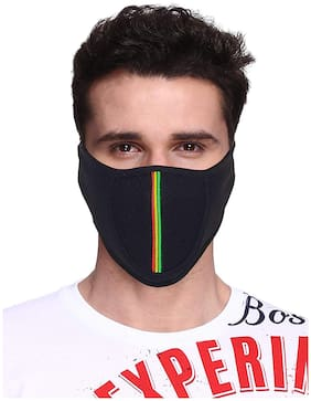 Fashno Cotton Half Face Mask ( Black )