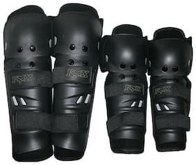 Favourite BikerZ-Fox Motorcycle Riding Knee and Elbow Guard (Black;Set of 4)