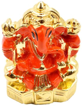 Faynci First Pray Both Sided Lord Ganesha Orange Idol - Statue | Car Dashboard | Home Office Decor | Gifting Decorative Showpiece