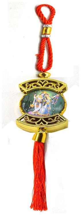 Faynci Krishna playing flute with Radha Double Sided Religious Red Car Rearview Mirror Hanging Ornament/Interior Wall Hanging Showpiece for good luck