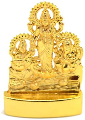 Faynci LAXMI GANESHA SARASWATI Gold Plated Statue - Idol for Car Dashboard | Home, Office Decor | Gifting Decorative Showpiece | Temple Gift (Golden)