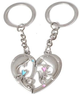 Faynci Valentine day Gift Dolphin Love theme Magnetic Heart Keychain Gifting for your loved one