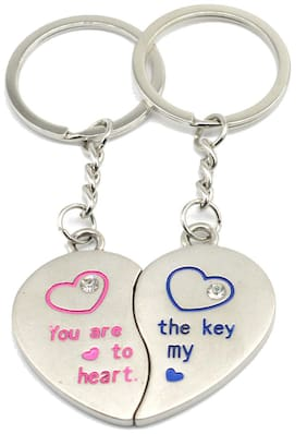 Faynci You are the Key to my Heart couple design with twin Heart and Rhinestone Key Couple Key Chain for Gifting Valentine Day/Birthday/Friendship Day