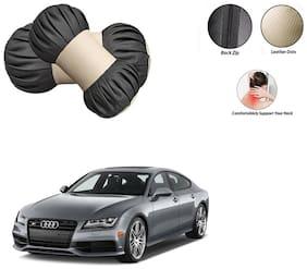 Feelitson 2pcs Universal Car Seat Pillow Damaroo Neck & Head Rest Cushion (Black Beige) for All Cars