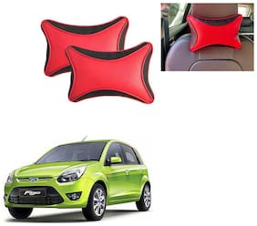 feelitson 2pcs Universal Leather Car Seat Pillow Breathable Car Auto Head Neck Rest Cushion Headrest Pillow Pad (Black Red Dot)